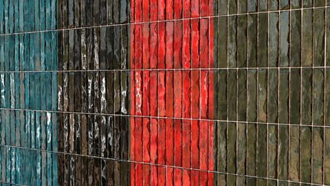Teal Tile 15- PBR Material- 4Color