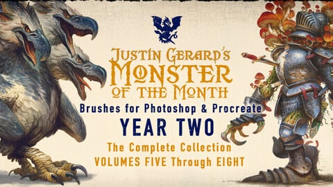 """Monster of the Month - YEAR TWO"" Brushes by Justin Gerard"