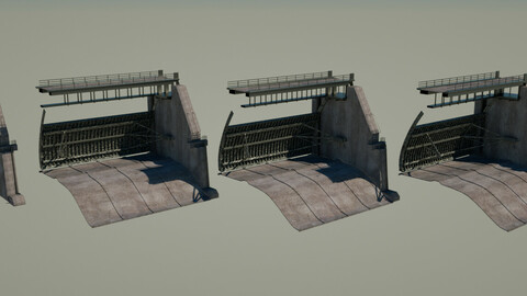 bridge dam 3D model 3D model
