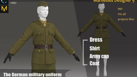 The German female military uniform_Outfit__Clo3d, Marvelous Designer Project + FBX + OBJ(if needed)
