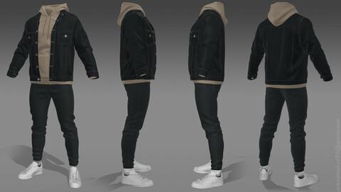 Mens - Denim Jacket + Hoodie + Jeans