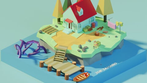 Isometric Low Poly House on an Island by Zoe Tamago