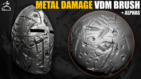 25 Metal Surface Damages VDM Brush for ZBrush (+10 Alphas)