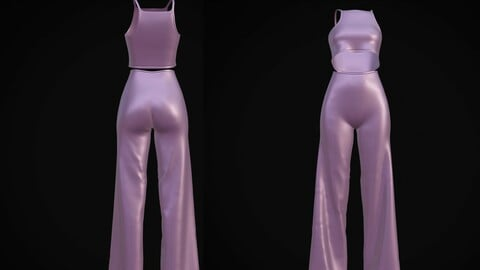 Female 2Piece outfit - 3D Crop top & wide leg pants