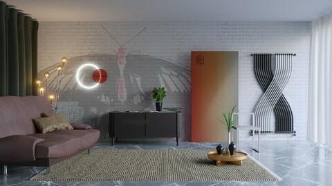 Butterfly Mural Room 3D scene (.fbx - .blend)