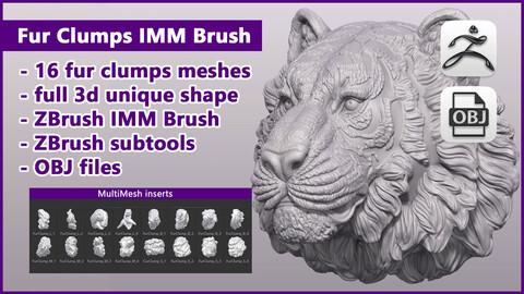 ZBrush Fur Clumps IMM Brush / ZBrush files + OBJ files
