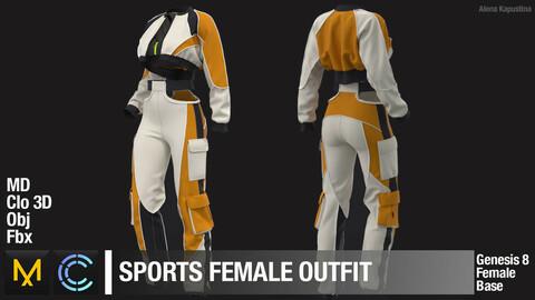 Sports female outfit. Marvelous Designer Clo 3D project + obj + fbx