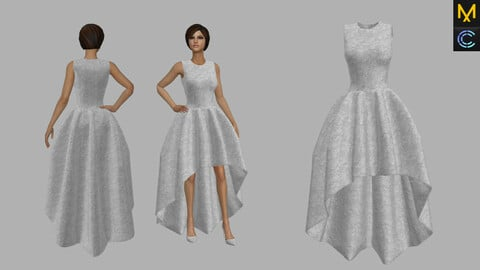 Dress-Night dress- Bridal dress - Marvelous designer & CLO3d Projects + OBJ