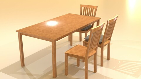 3D Kitchen Wood Table and Chair Set for Cinema4D Blender and Other