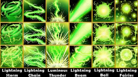 Fantasy Game Basic Magic Skill Icons - Lightning Magic