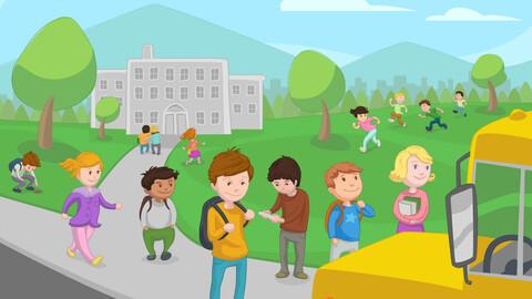 Vector kids children going to school