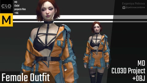 Female Outfit. Marvelous Designer Clo3d project + OBJ files
