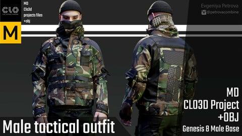 Male tactical outfit. Marvelous Designer, Clo3d project + OBJ
