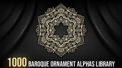 1000 Baroque Ornament Alphas Library
