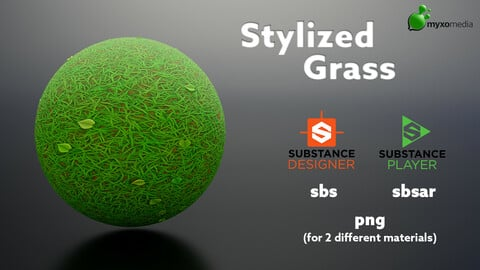 Stylized Grass with Clover and Leafs - Procedural Material Substance Designer