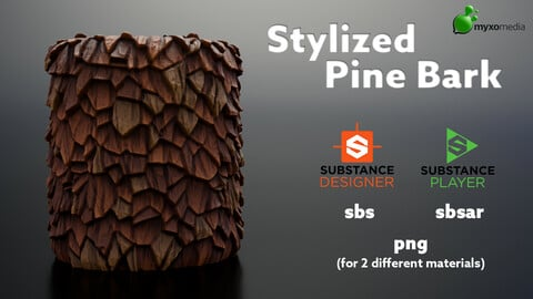 Stylized Pine Bark - Procedural Material Substance Designer