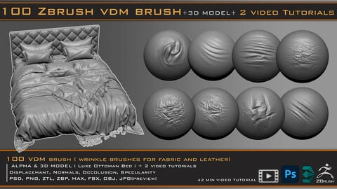 100 VDM Brushes , Wrinkle Brushes + 3D model & 2 Video Tutorials