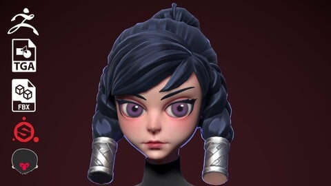 3D PBR Stylized Female Character by Mr. Pure Vessel from MegaMoss