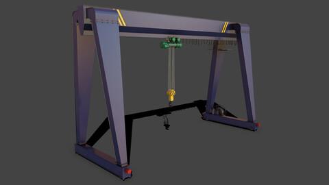 PBR Single Girder Gantry Crane V2 - Blue Dark