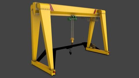 PBR Single Girder Gantry Crane V2 - Yellow Light