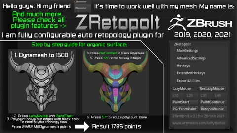 Auto retopology plugin for ZBrush 2021.6.2, 2020, 2019.1.2 - ZRetopoIt