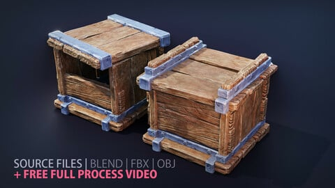 PBR wooden box | Modular (4 pieces / parts) | Free Full Process Video Tutorial (not narrated) | 3d Game-ready Asset
