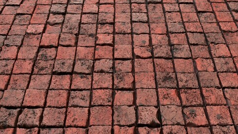 Red Grunge Brick Wall-PBR-02