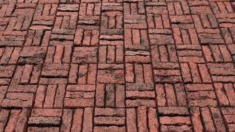 Red Grunge Brick Wall-PBR-03