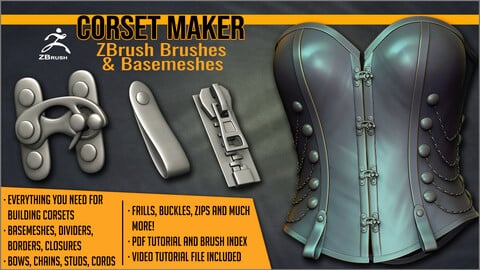 Corset Maker: ZBrush brushes & Basemeshes