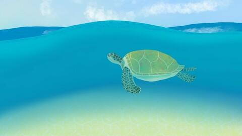 Sea turtle digital painting