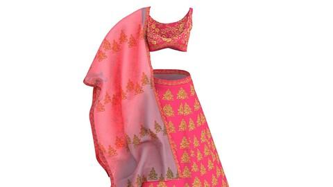 3d Model of Traditional Indian Lehnga Skirt