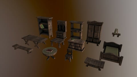 3d models of wooden furniture asset