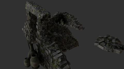 Asset of jungle 3D ruins