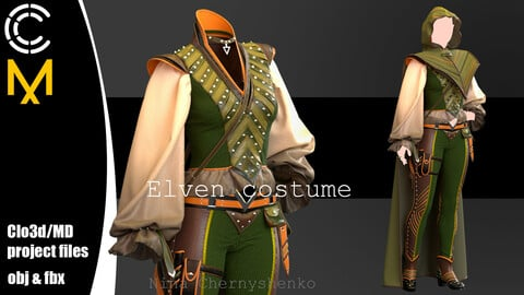 Elven costume. Marvelous Designer/Clo3d project + OBJ + FBX.