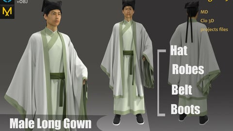 Chinese male Hanfu & Kinmono Long gown_Marvelous Designer Project_Practice for Zbrush