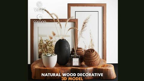 3dasset natural wood and wheat decorative set