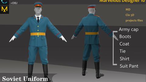 Post-War Soviet Uniform_M69 or M70_Military Outfit_Clo3d, Marvelous Designer Project + FBX + OBJ(if needed)