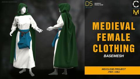 Medieval female clothing. Clo3d, Marvelous Designer Project + FBX + OBJ