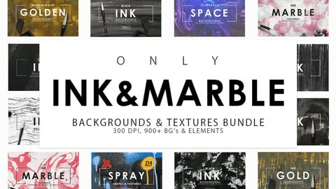 900+ Ink & Marble Backgrounds Bundle