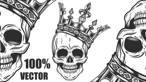 Vintage Prince Skull In Crown Monochrome Isolated Vector Illustration. 100% Vector!