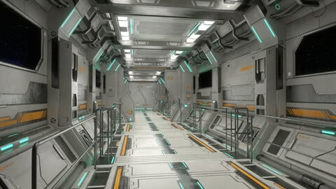 Sci-Fi Modular Corridor with Door Version 2 - Low Poly