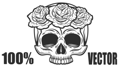 Vintage Human Skull With Rose Flowers Tattoo Concept Isolated Vector Illustration. 100% Vector!