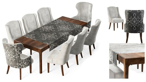 Dove Gray Velvet Dining Chairs&table