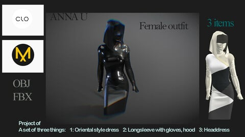 Clo3D, Marvelous Designer project: Female Outfit Set of 3 Garments! +Extra Headdress +Extra mask