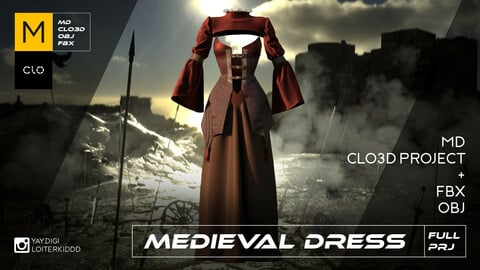 Medieval Dress (Burgundy Red)