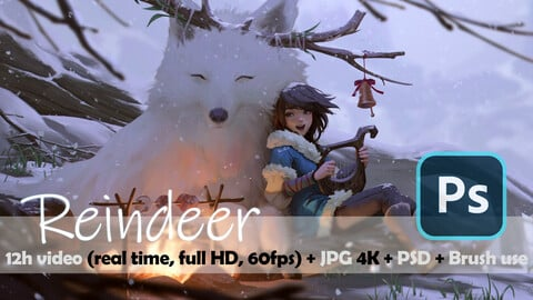 REINDEER - full video 12h15m (real time, full HD 60fps) - 4k jpeg - PSD - Brushes