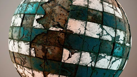 PBR Broken Tiles floor wall 4K Material
