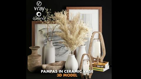 3dasset pampas in  white ceramic vase