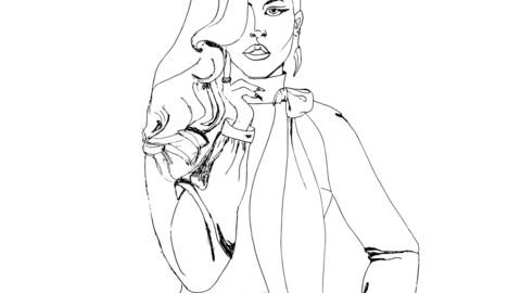 vector illustration black and white girl