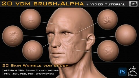 20 Skin Wrinkle VDM Brush & Alpha + Video Tutorial